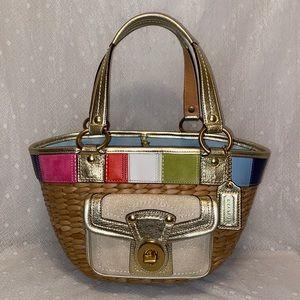COACH Natural Multi Color Straw Basket Tote Bag